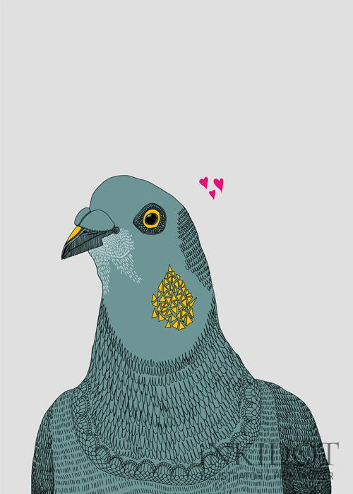 'Gerald Looking For Love' - Gerald is a pigeon that visits my garden on a daily basis. He is always alone but is a very handsome little dude that I always imagine is just a little unlucky in love.